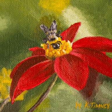 Bee with Red Flower