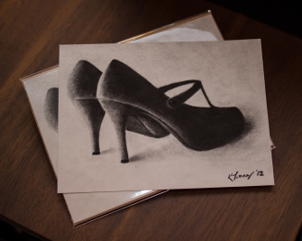One of my first charcoal drawings 2012 (this is a photo of the giclee prints I had made of the original)